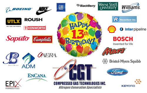 Compressed Gas Technologies Inc. is celebrating its 13th birthday!